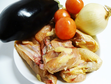 1-Ingredients, pollastre, albergínia